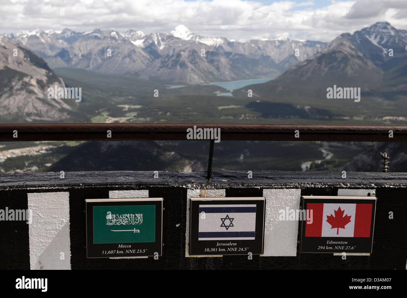 signs indicating distance to mecca jerusalem from sulphur mountain banff national park tourism tourist point of - Stock Image