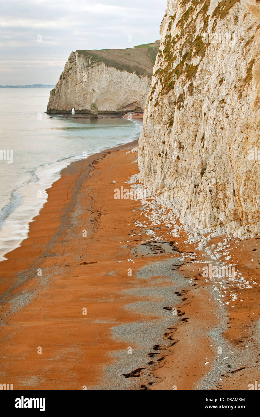 A view of Swyre Head and Bat's Head on the Jurassic Coast in Dorset UK photographed just before sunset in January Stock Photo
