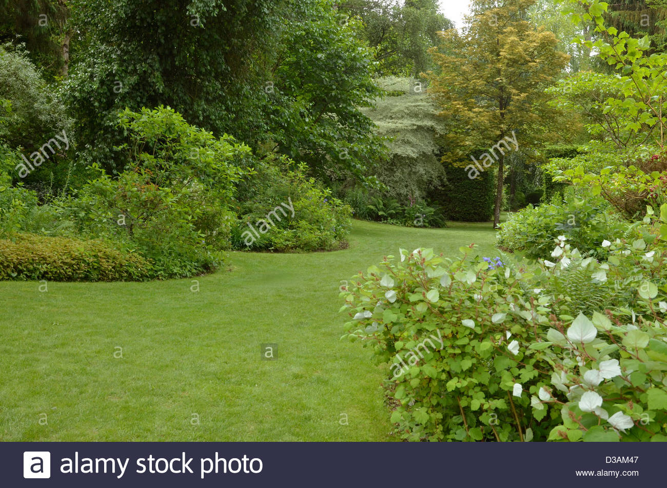 lawn, remarkable Garden, Séricourt, France, 62, Pas-de-Calais, France - Stock Image
