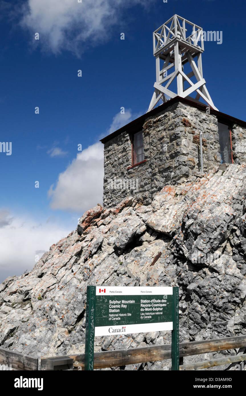 meteorological observatory building Sanson Peak cosmic ray rays laboratory sulphur mountain banff gondola tourists - Stock Image