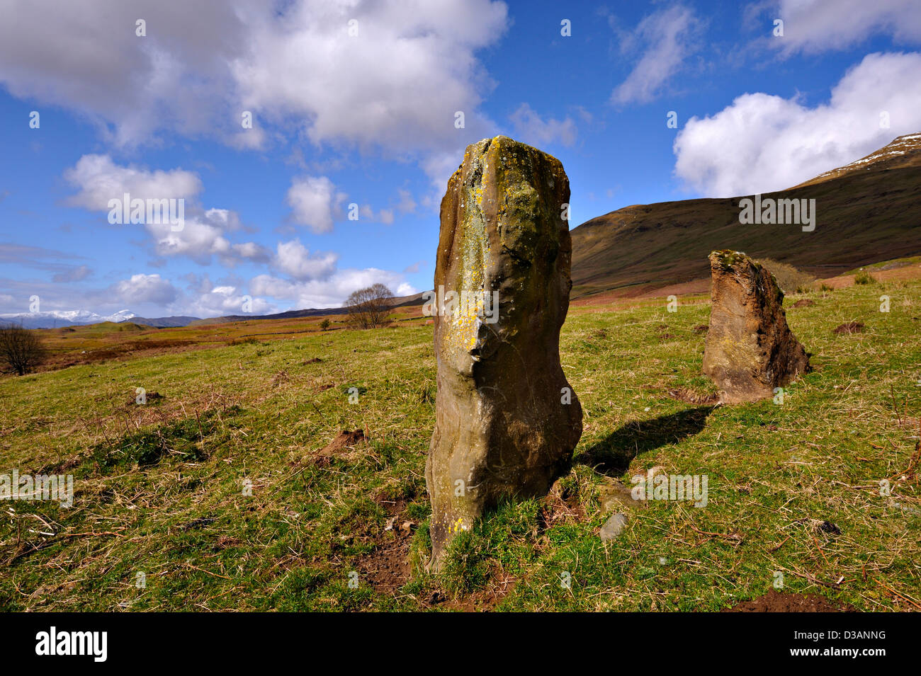 scenic standing stone neolithic stone-age symbol - Stock Image