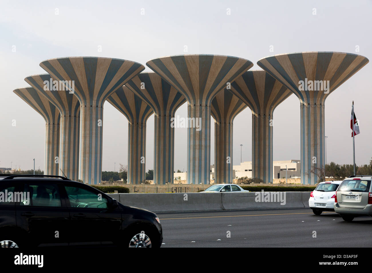 water towers, Kuwait City, Kuwait - Stock Image
