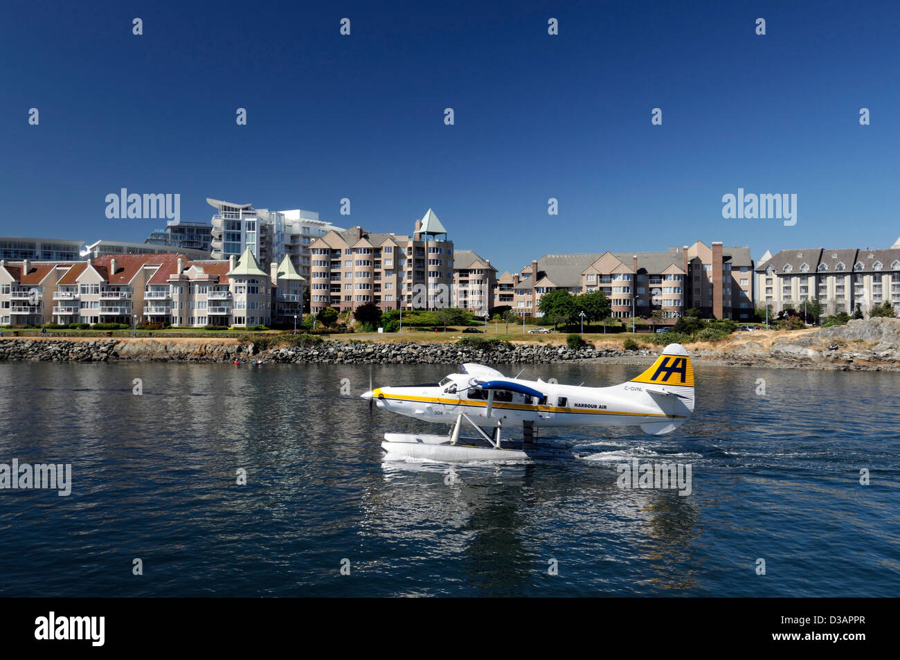 harbour air water plane preparing prepare for takeoff inner harbour victoria vancouver island transport transportation - Stock Image