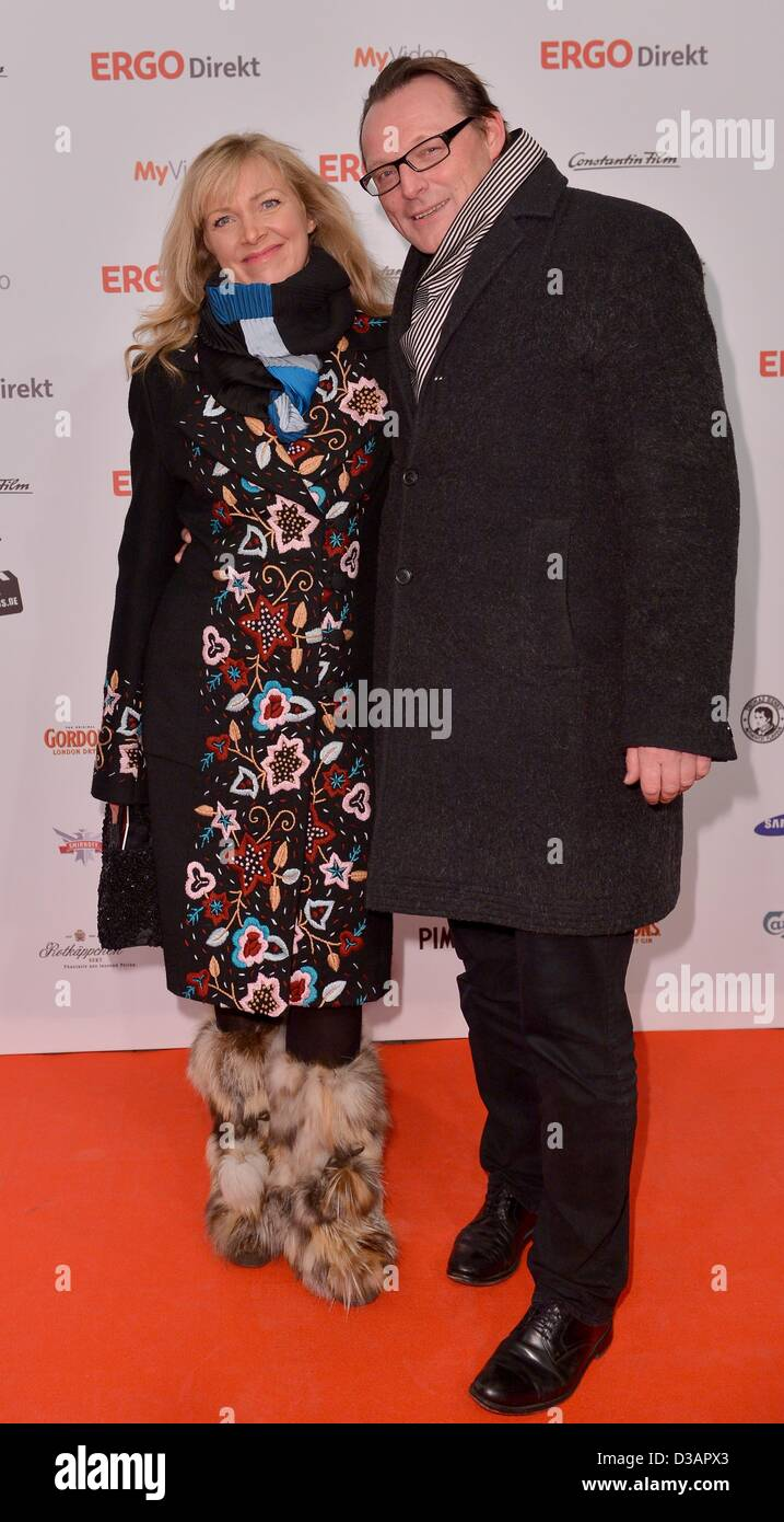 German designer Nanna Kuckuck (L) and partner Dirk Ullmann arrive for the 99Fire-Film Award 2013 as part of the - Stock Image
