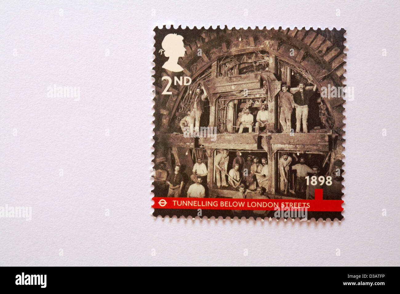 2nd class underground stamp on white envelope - Tunnelling below London streets 1898 - Stock Image
