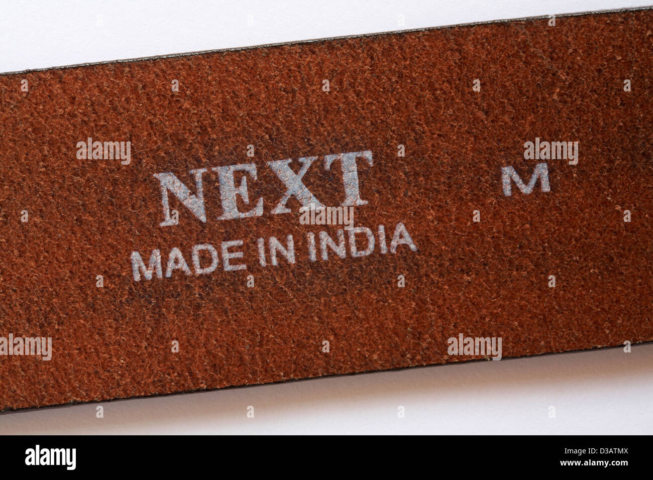 102a5ae5a0ede detail on Next leather belt made in India Stock Photo: 53713994 - Alamy