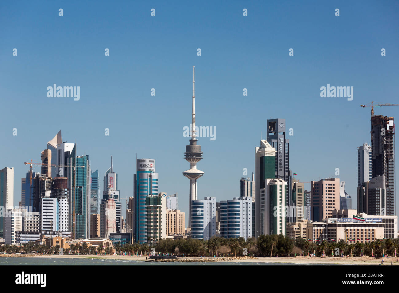 view of skyscrapers, Kuwait city, Kuwait - Stock Image
