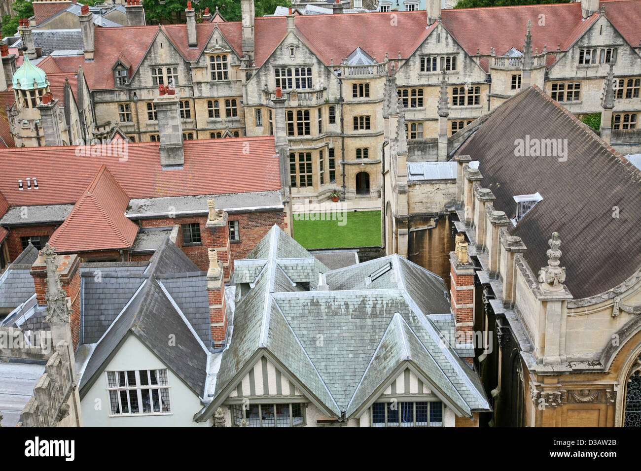 Oxford University from above, Brasenose College - Stock Image