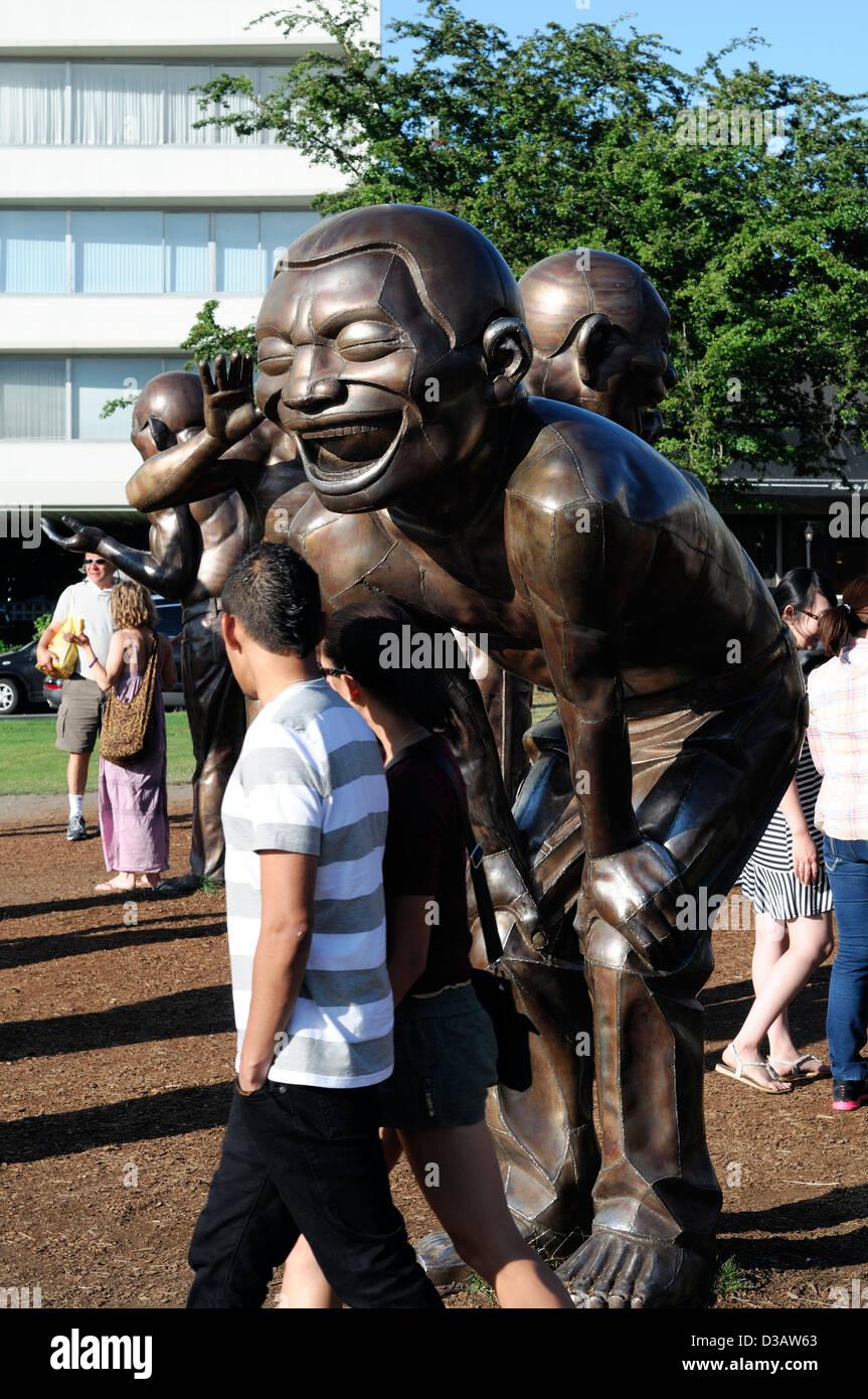bronze bodybuilder statues stanley park vancouver BC canada art artwork sculpture - Stock Image