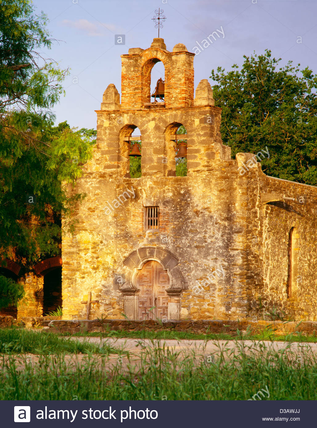 Church of Mission San Francisco de la Espada, at sunrise. Founded 1731. San Antonio Missions National Historical - Stock Image