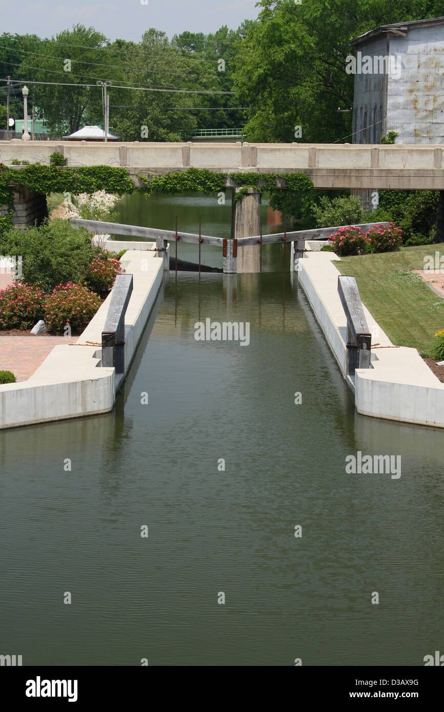 Lock 13 on a restored section of the Miami - Erie Canal in St Marys, Ohio, USA. Stock Photo