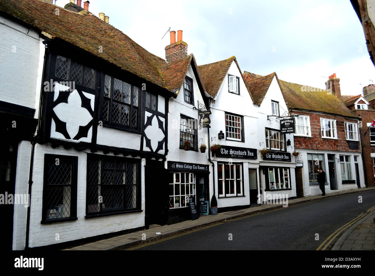 The Mint, an extension of Rye High Street in East Sussex is lined with early medieval, black and white, half-timbered - Stock Image