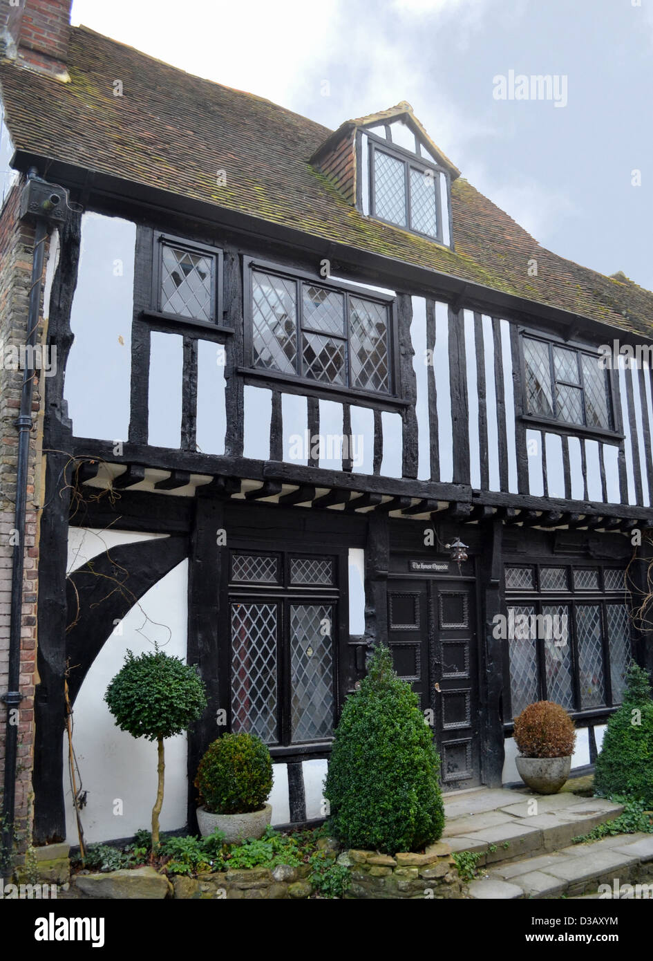 Medieval house on Mermaid Street in Rye, East Sussex. The address of the 15th century house is, 'The House Opposite' - Stock Image