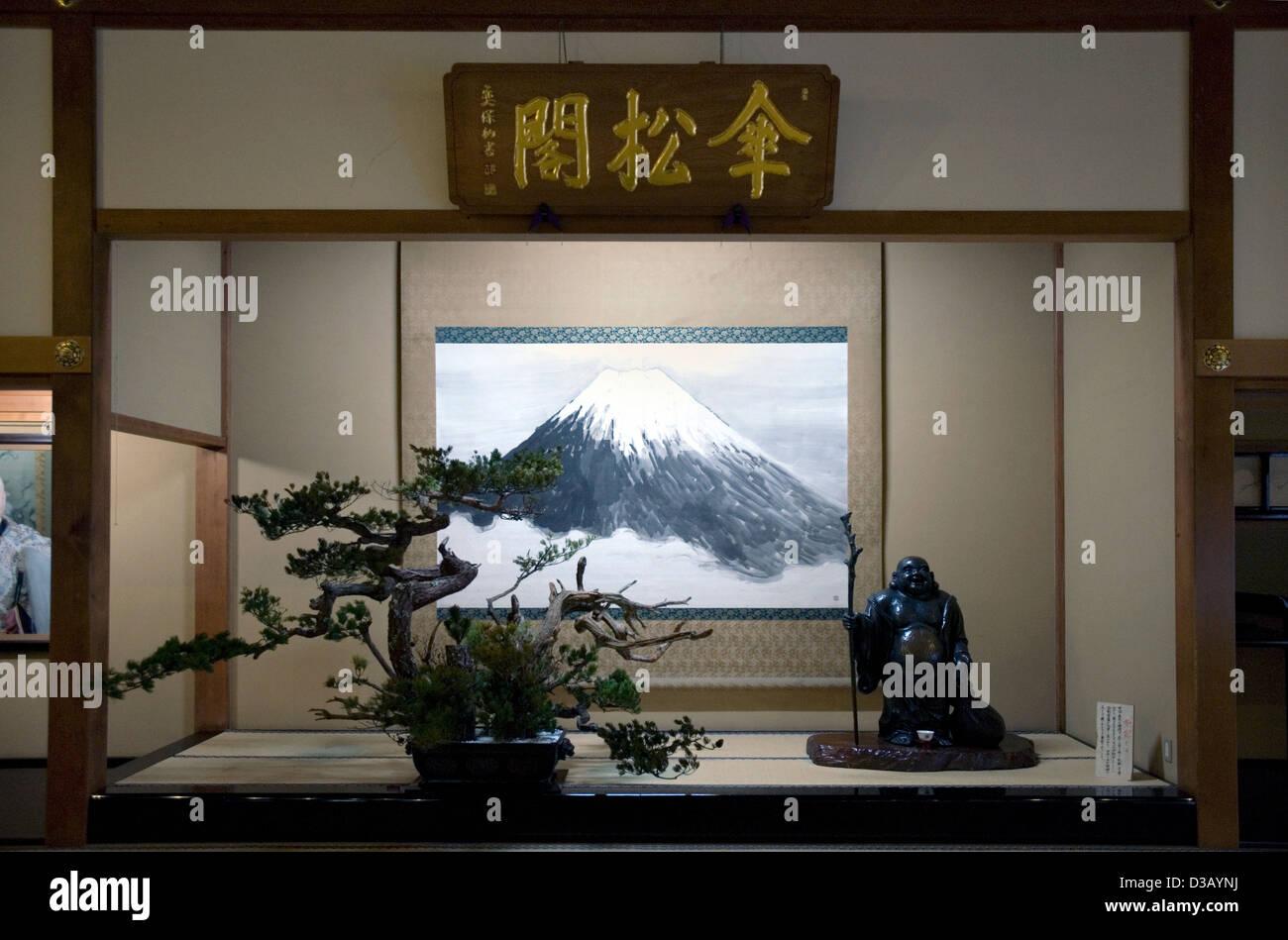 Tokonoma Style Display Of Mount Fuji Scroll Bonsai Tree And Buddha Stock Photo Alamy