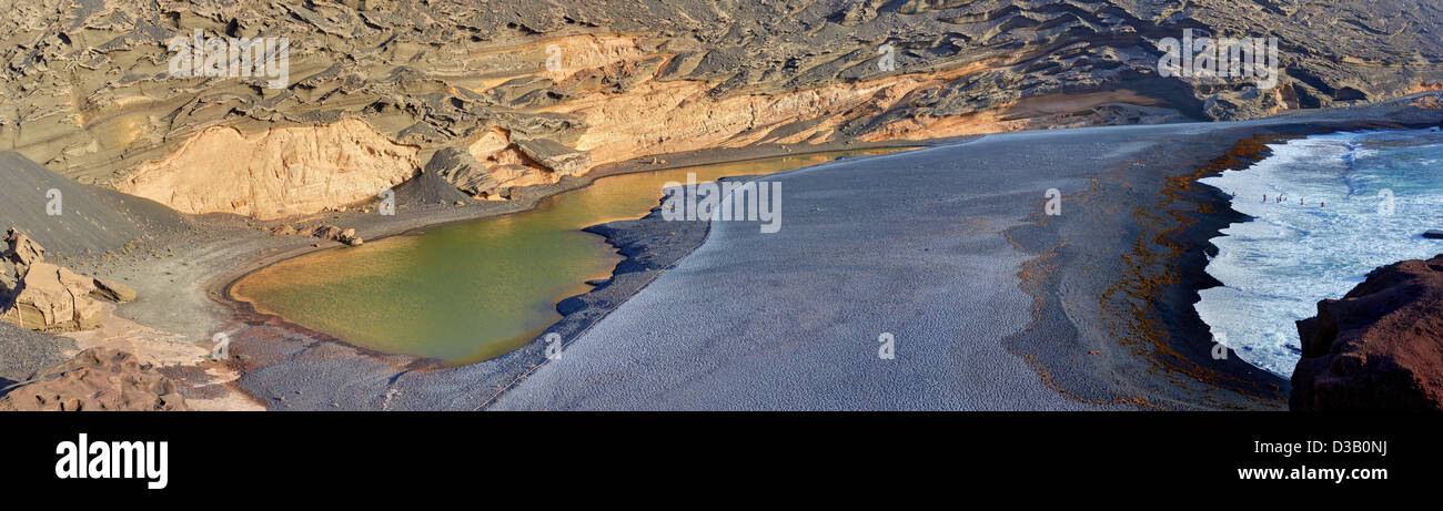 Panorama of Green Lake - Green Lagoon - Charco de los Clicos - inside volcanic crater - El Golfo, Lanzarote, Canary - Stock Image
