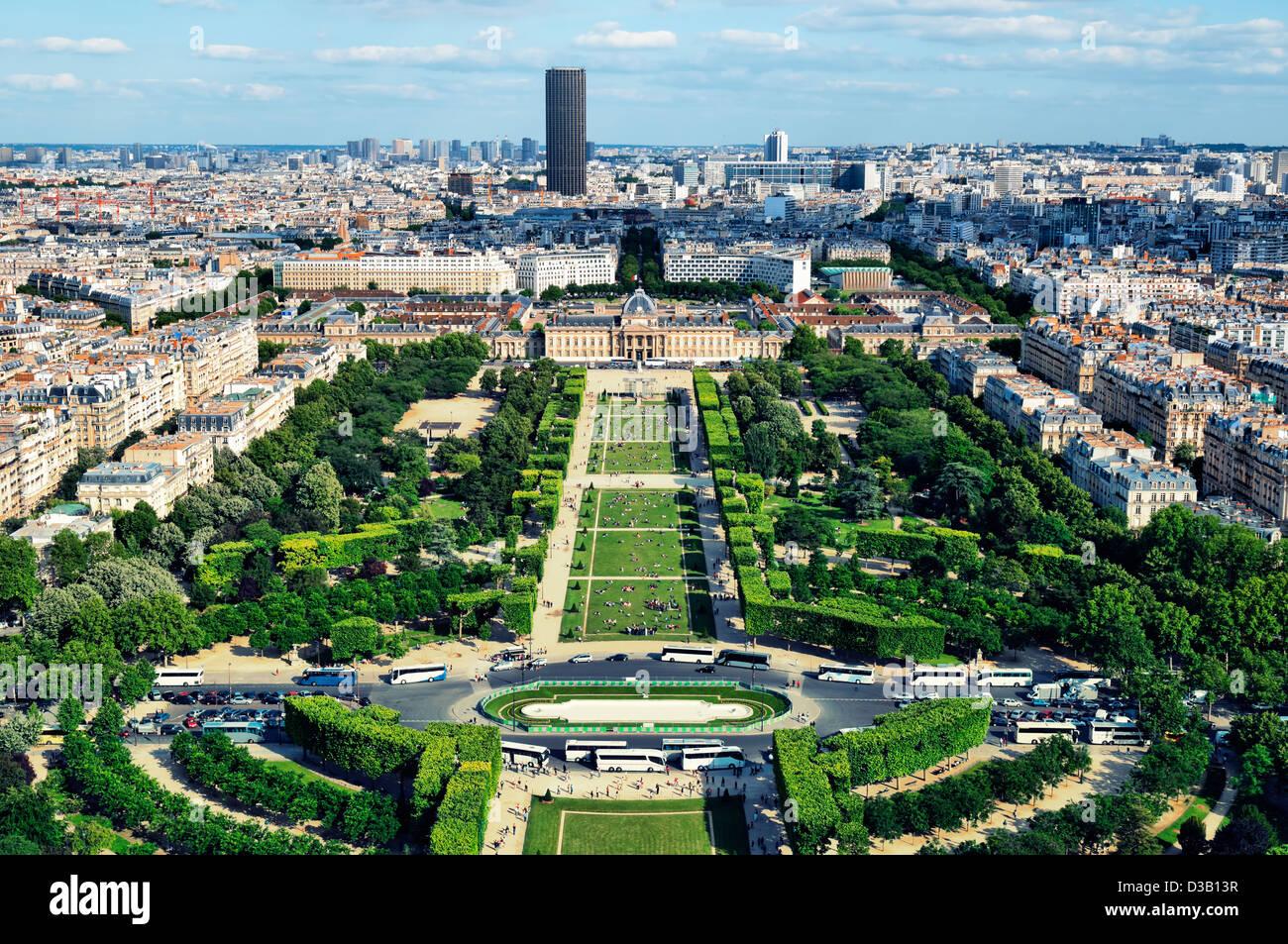 View of Champ de Mars, Paris - France - Stock Image