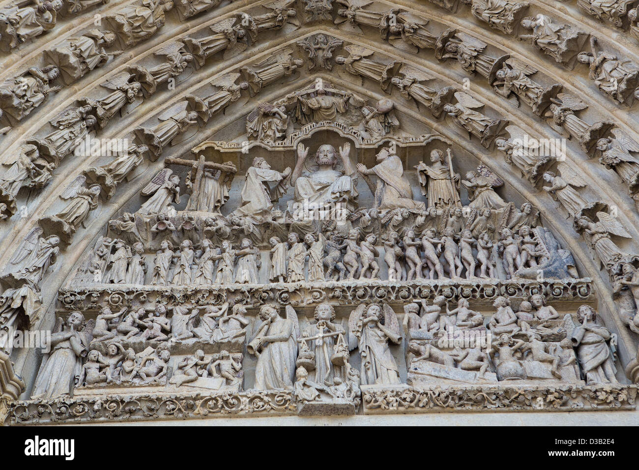 Tympanum of Cathedral of Our Lady of Amiens - Stock Image