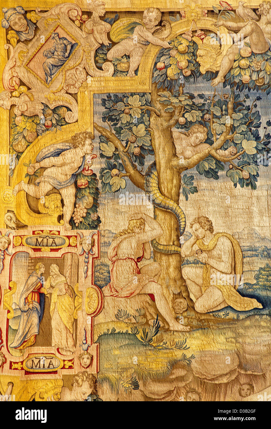 Bergamo - Adam and Eva in the Paradise. Detail from gobelin of Annunciation - Stock Image