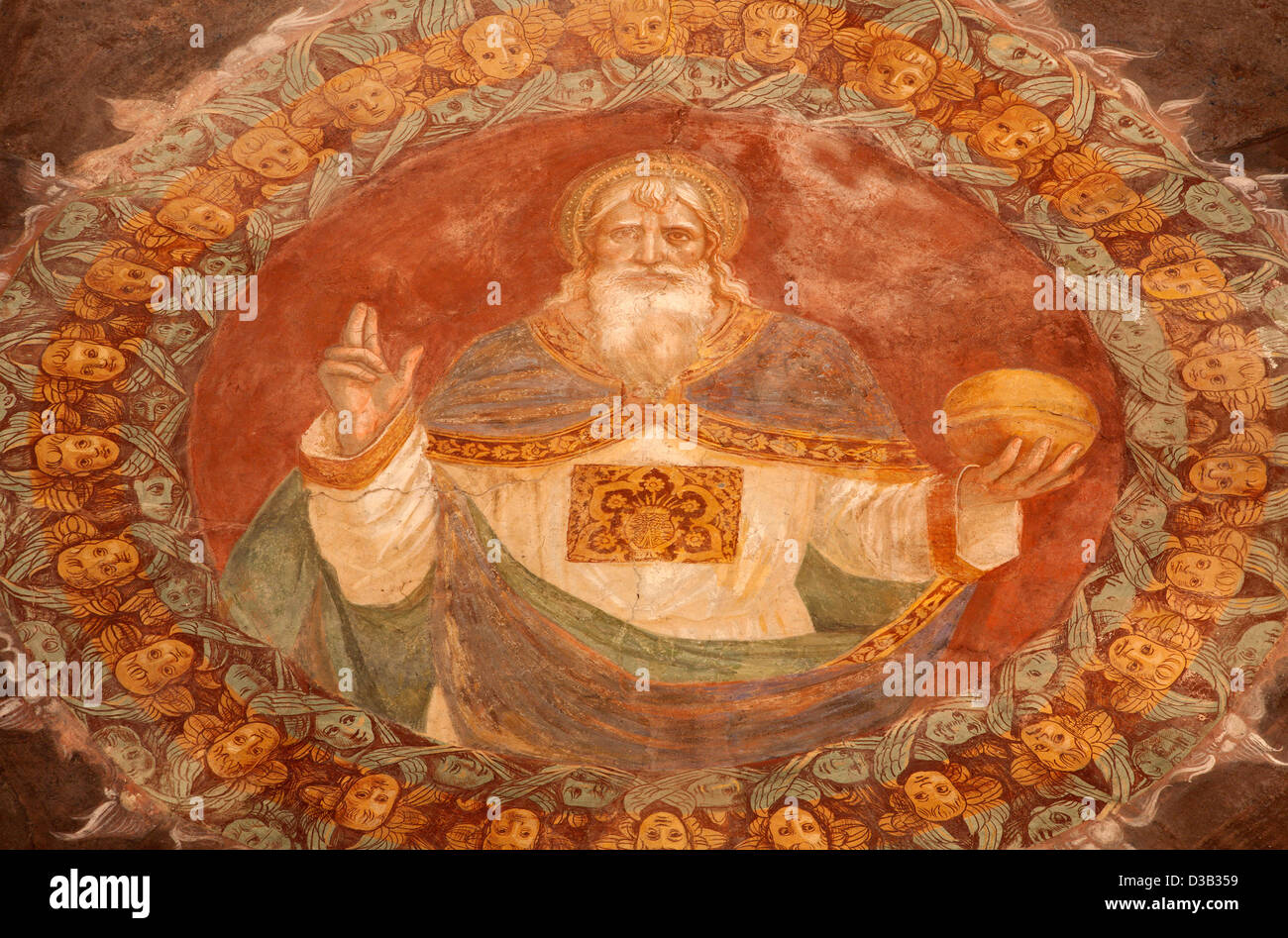 BERGAMO - JANUARY 26: God the Creator fresco form church Michele al pozzo bianco. Fresco in the apse. - Stock Image