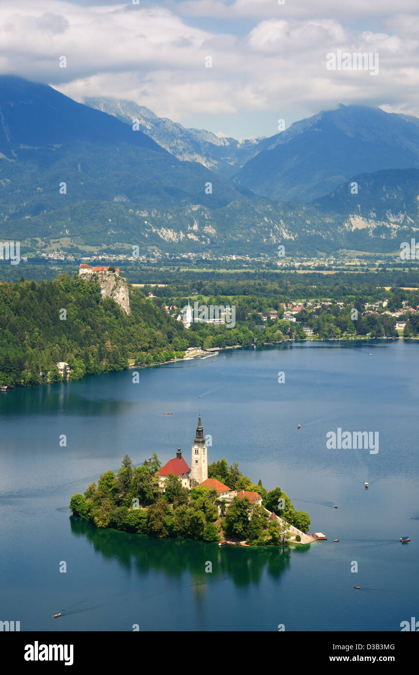 View of St. Mary´s Church of the Assumption in Bled - Stock Image