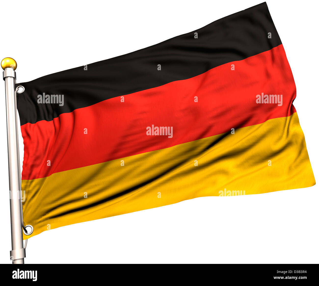 Germany flag on a flag pole. Clipping path included. Silk texture visible on the flag at 100%. - Stock Image