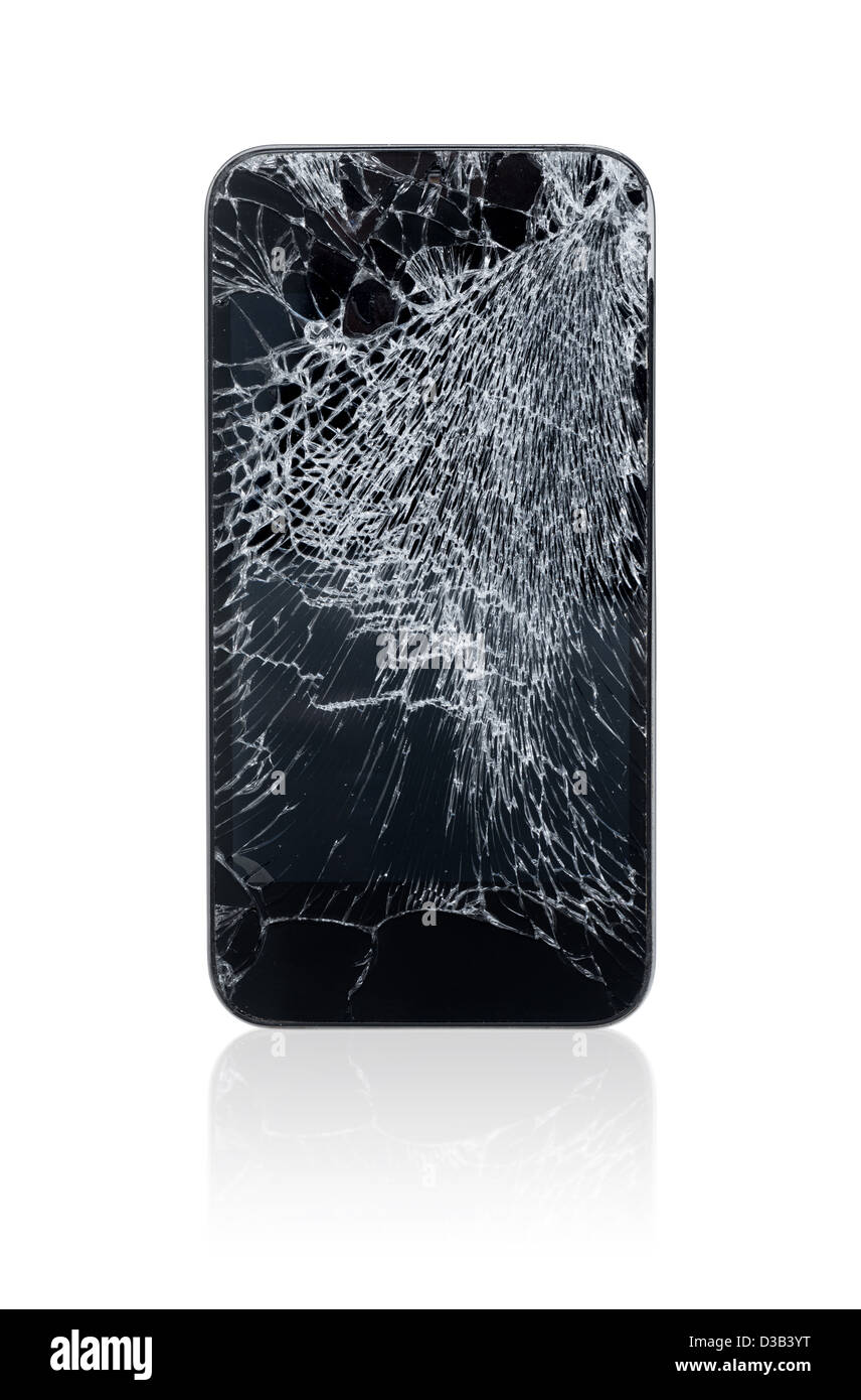 Mobile phone with broken screen isolated on white. Stock Photo