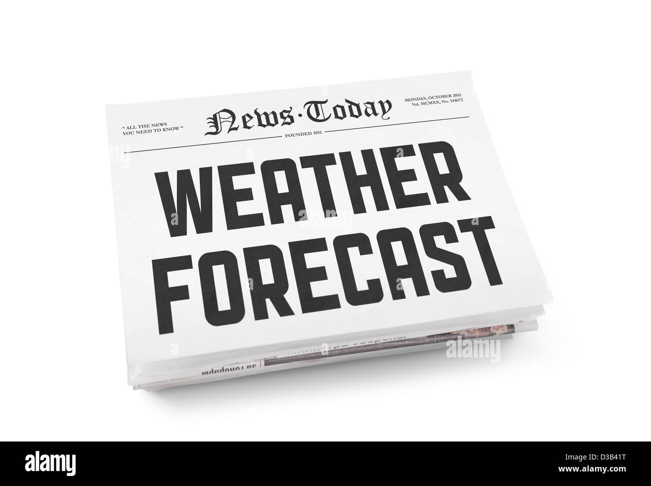 A stack of newspapers with headline 'Weather Forecast' on a front page. Isolated on white. - Stock Image