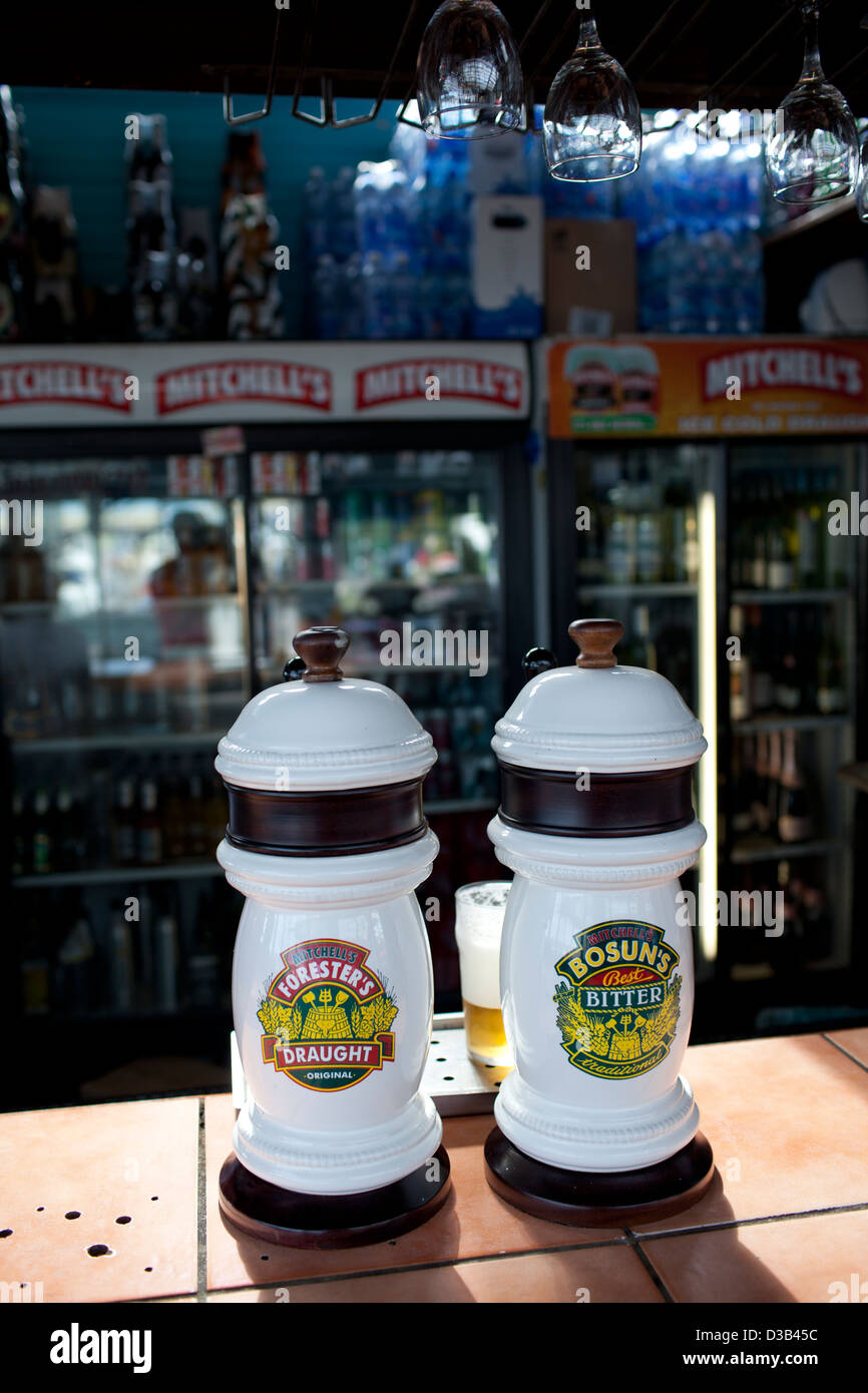 South Africa, local draft beer kegs in bar at Knysna, on the 'Garden Route'. - Stock Image