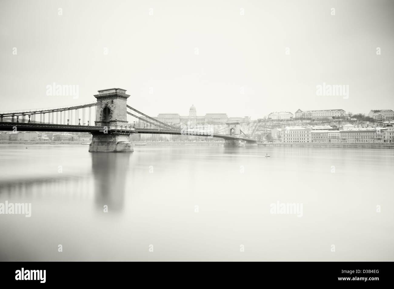 Szechenyi Chain Bridge and Royal Palace. Stock Photo