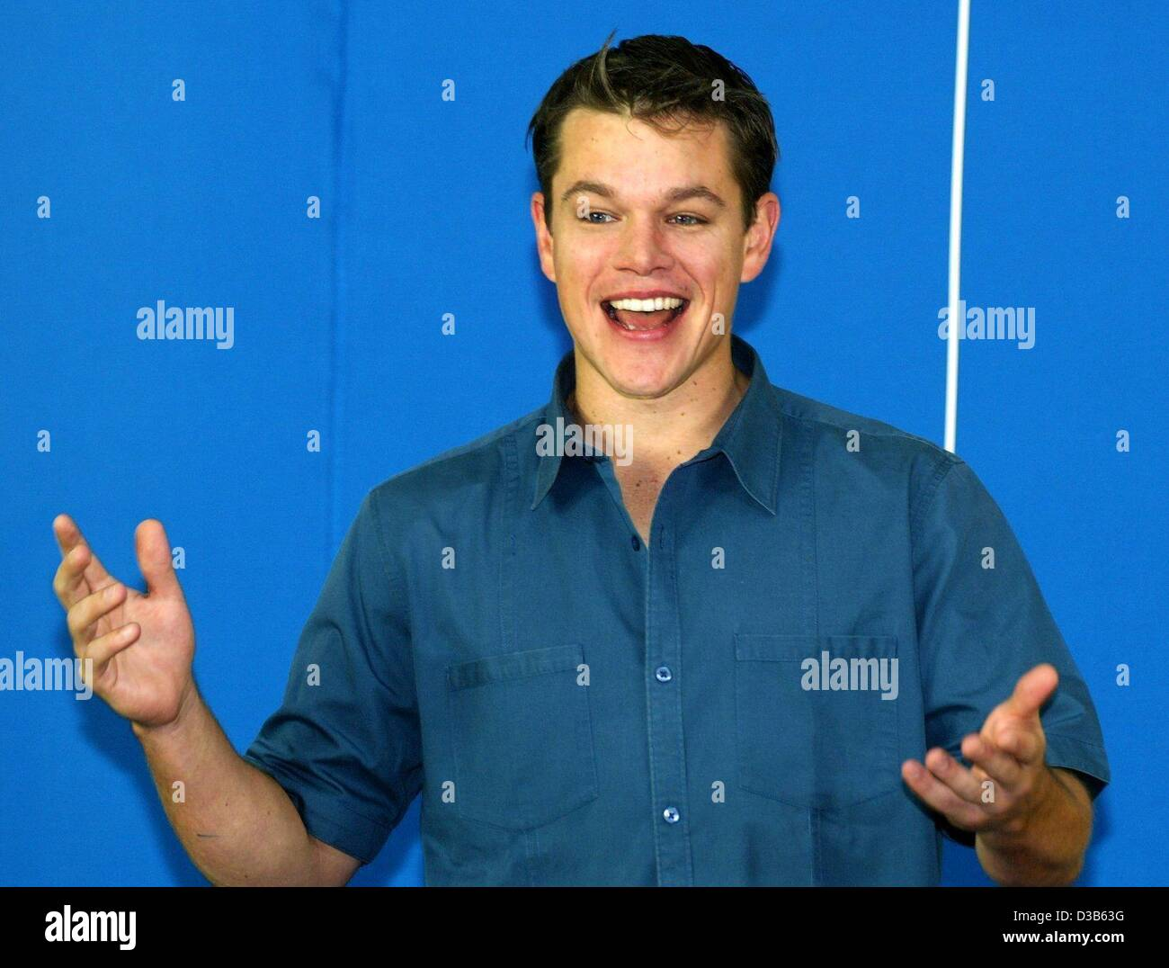 (dpa) - US actor Matt Damon ('Good Will Hunting') gestures during the presentation of his latest film 'The - Stock Image