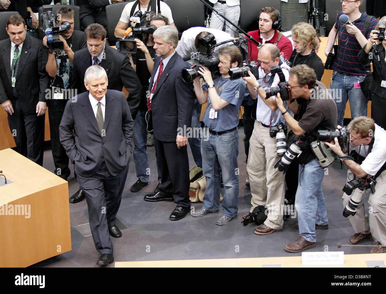 (dpa) - German Interior Minister Otto Schily is pictured during his hearing as the likely last witness before the Stock Photo