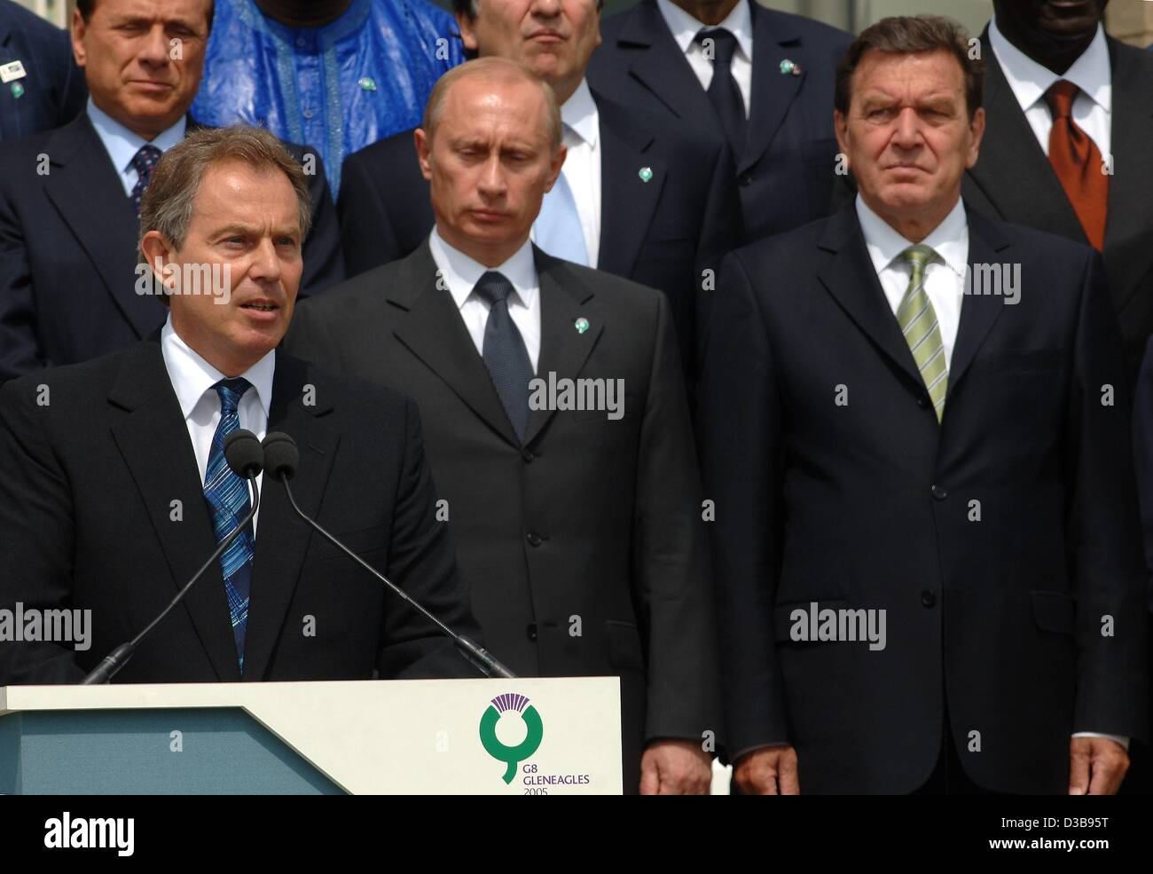 British Prime Minister Tony Blair (front) makes a statement prior to the family portrait of the G8 Summit at the Stock Photo