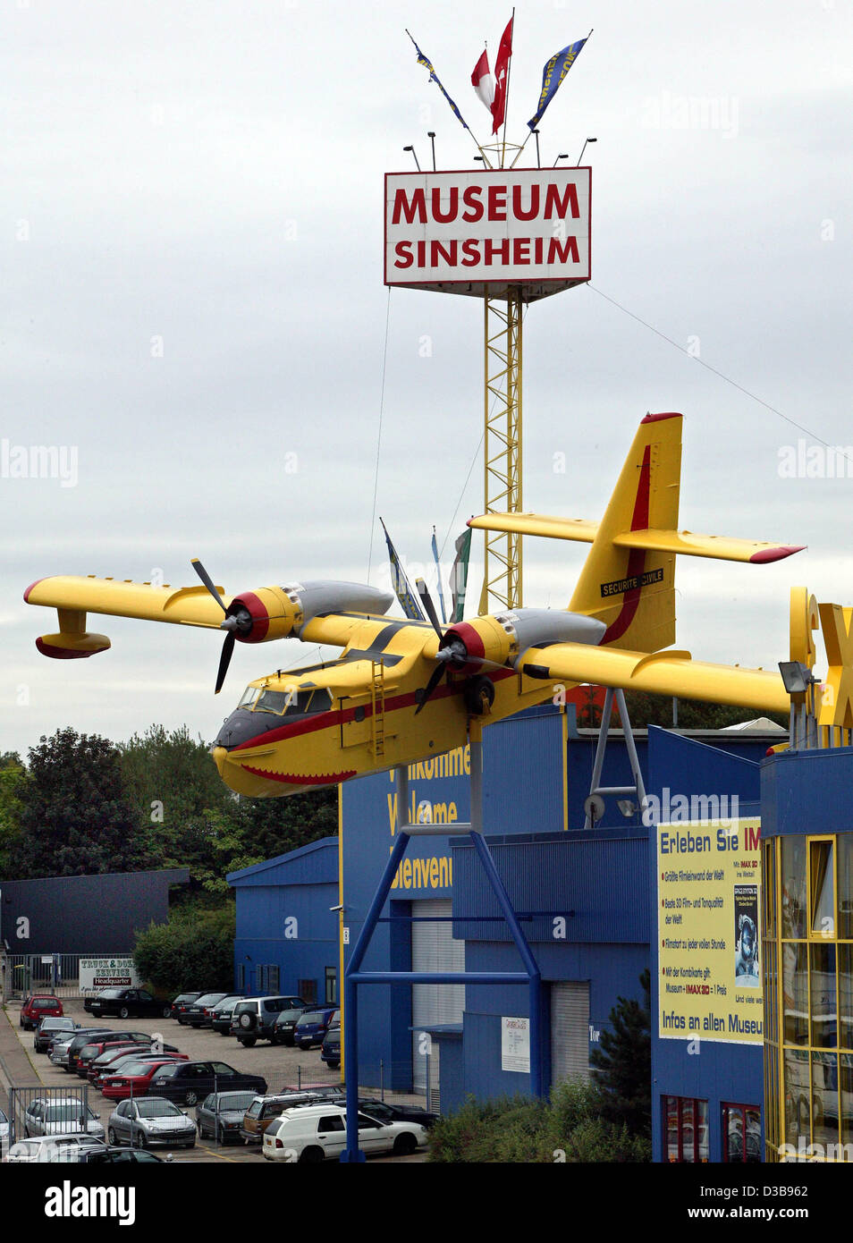 (dpa) - The picture shows a Canadair CL-215 Amphibic fire-fighting plane in the entrance area of the Automobile - Stock Image