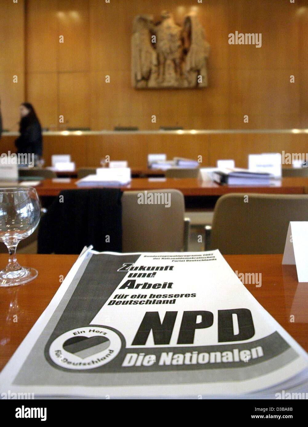 (dpa) - A handout of the far-right National Democratic Party NPD lies on the table during a break of the trial at - Stock Image