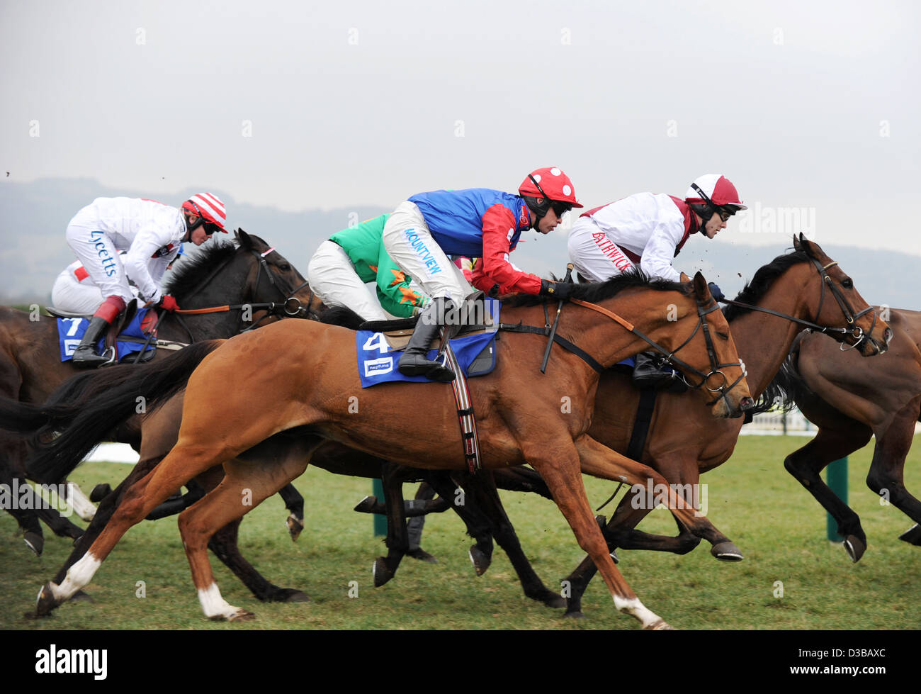 Jockeys ride their horses during The Cheltenham Festival an annual horse racing event in England Stock Photo