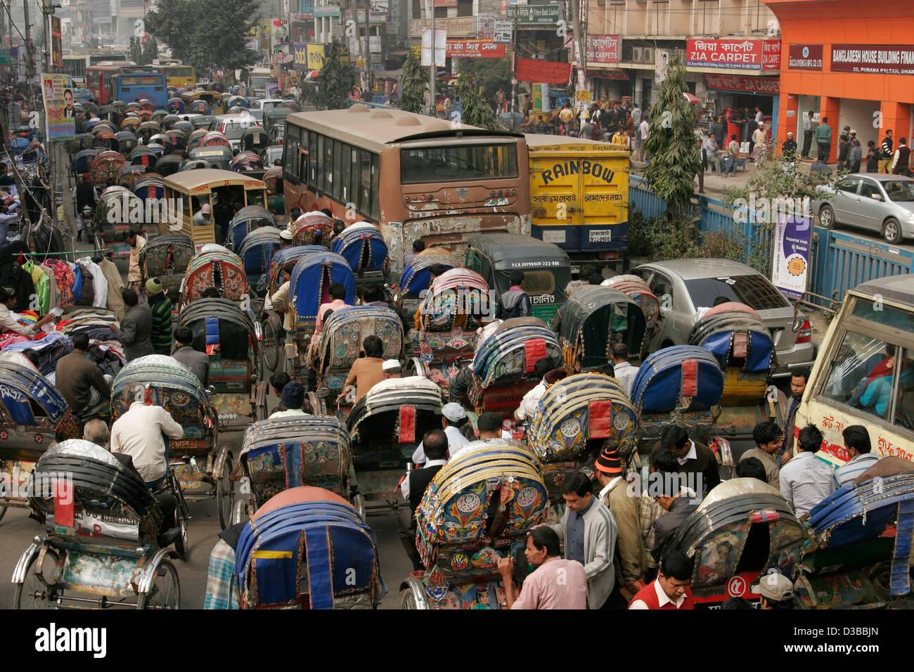 Rickshaw traffic jam on the street of Dhaka, Bangladesh - Stock Image