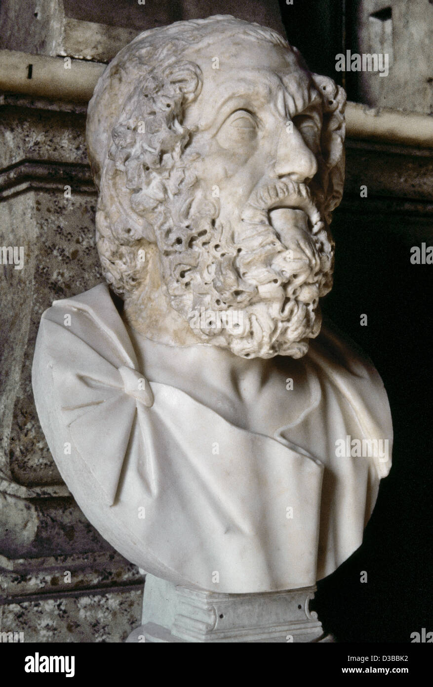 Homer (c.8th century). Greek epic poet. Bust. Copy of an original from 2nd century BC. Capitoline Museums, Rome, - Stock Image
