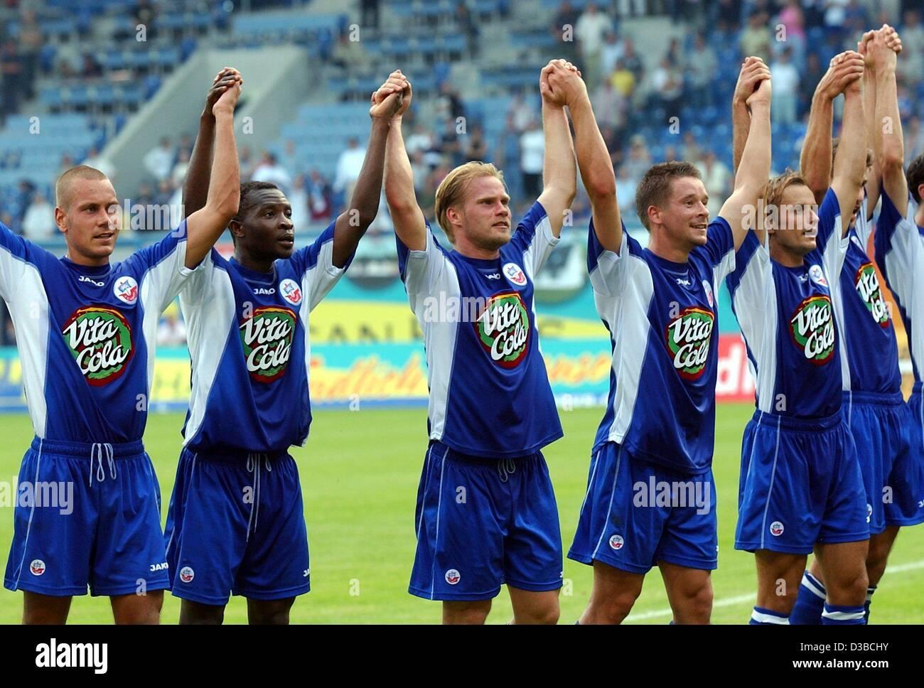 Dpa The Players Of German Soccer Club Fc Hansa Rostock Thank Stock Photo Alamy
