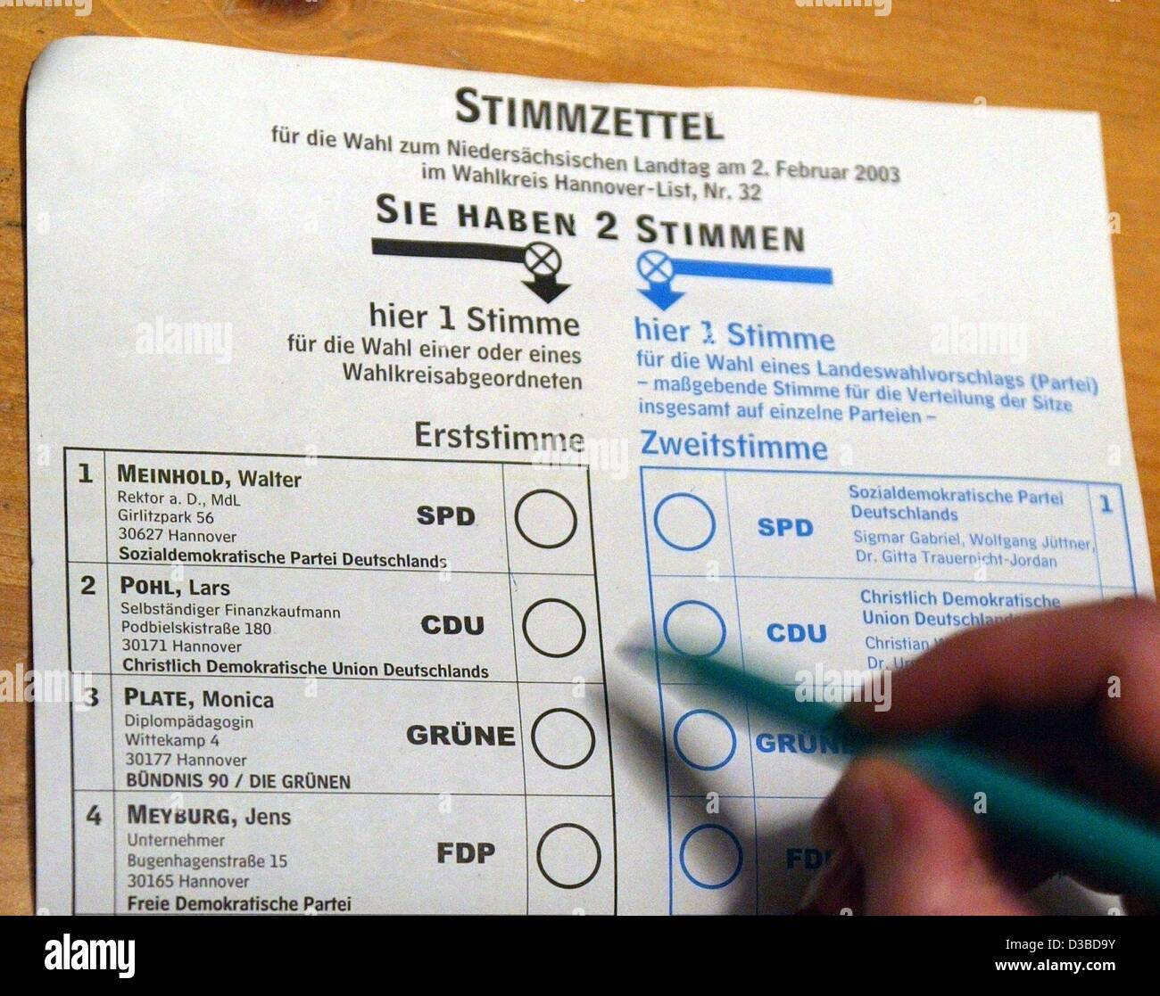 (dpa) - A ballot paper for the upcoming elections of the parliament of the German state Lower Saxony, pictured 28 - Stock Image