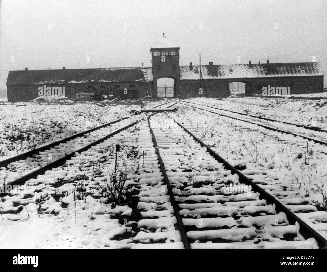 (dpa files) - A view of the snow-covered train tracks which lead to the gas chambers of the Auschwitz concentration - Stock Image