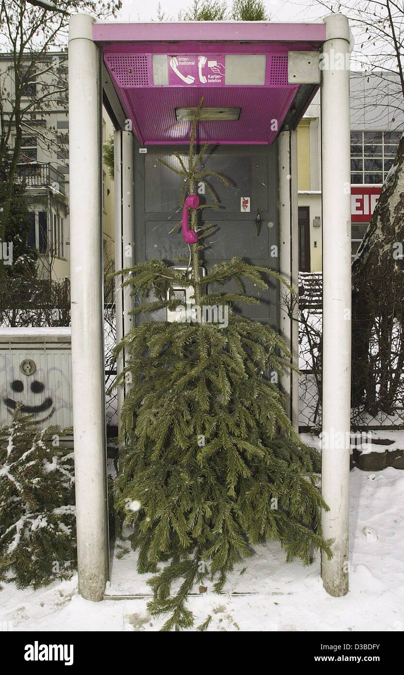 (dpa) - A disposed christmas tree apparently tries to phone home, pictured in Hamburg, 6 January 2003. - Stock Image