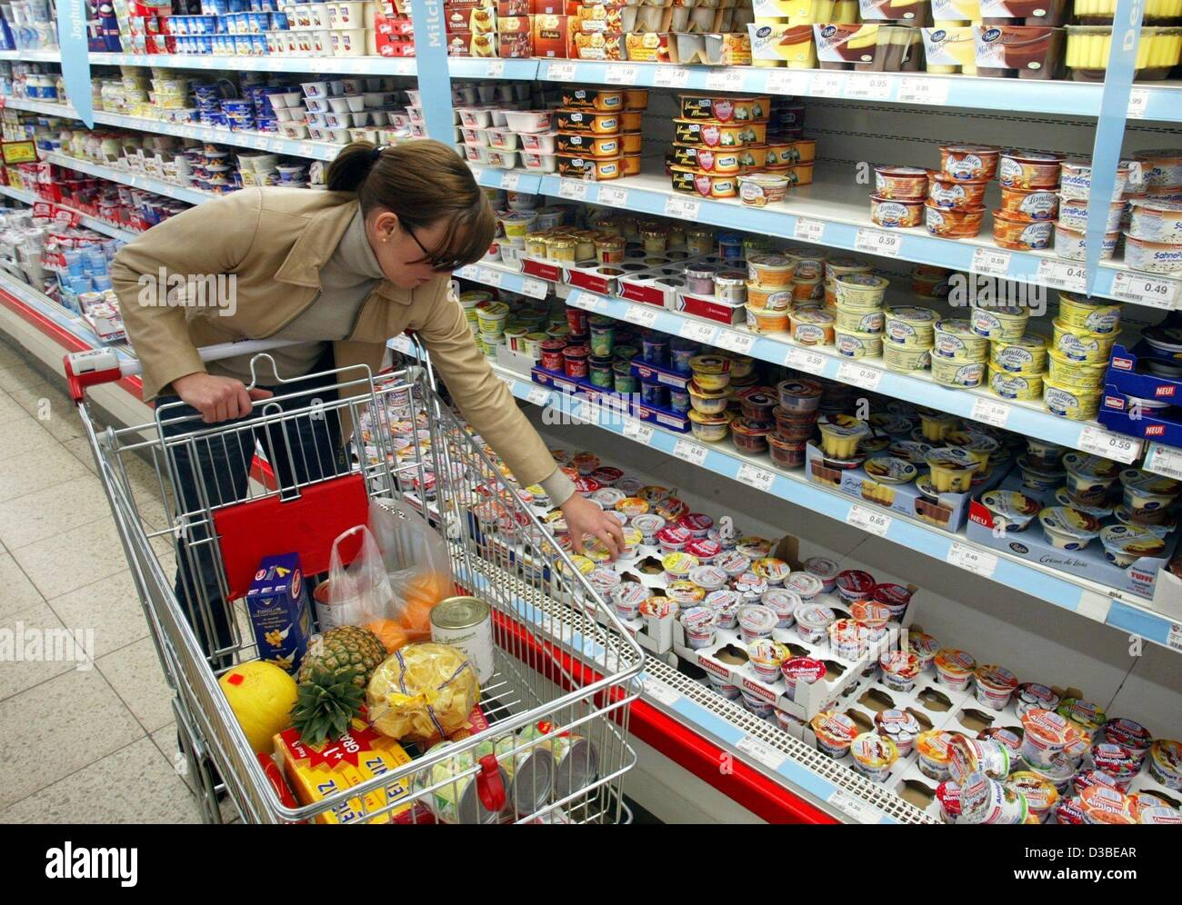 (dpa) - A young lady chooses a yoghurt from the refrigerated shelf of dairy products in a supermarket in Duesseldorf, - Stock Image