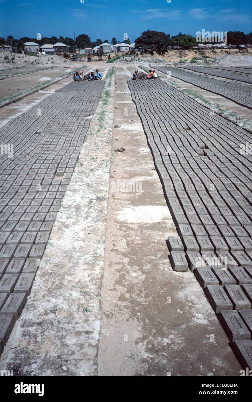 Bricks drying in the sun at a brickyard. Tangail District, Bangladesh - Stock Image