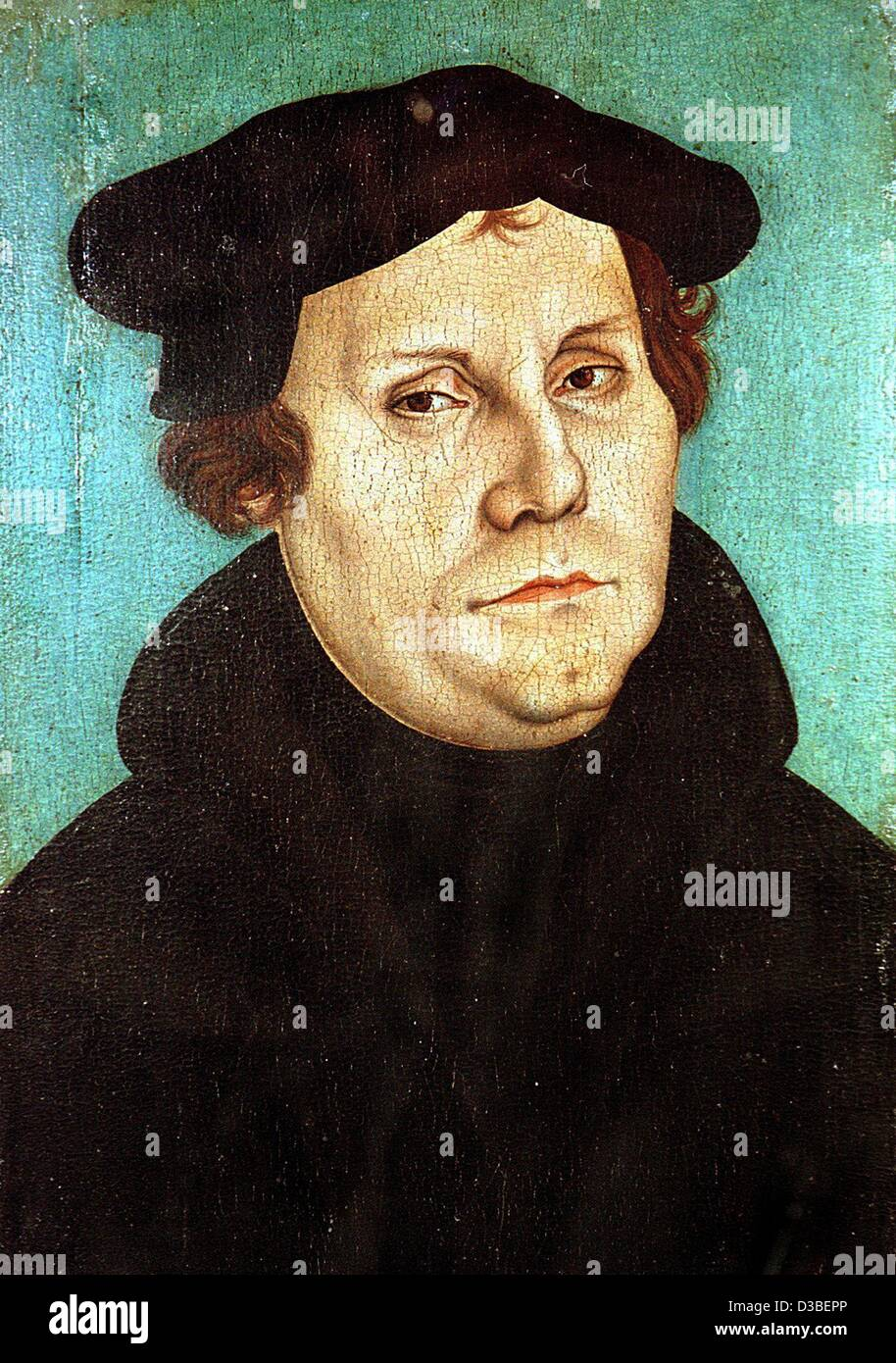 (dpa files) - Reformer Martin Luther, painted in oil on wood by Lucas Cranach the Elder, 1528. The painting is exhibited - Stock Image