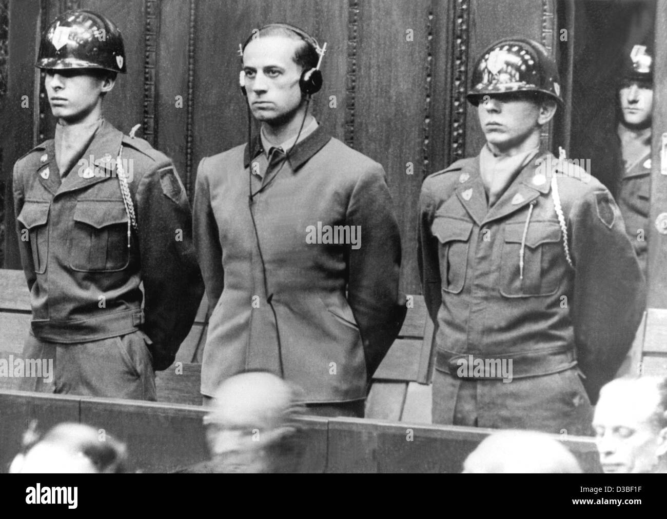 (dpa files) - One of the principle defendants, Karl Brandt (C) who had been the personal doctor of Adolf Hitler, Stock Photo