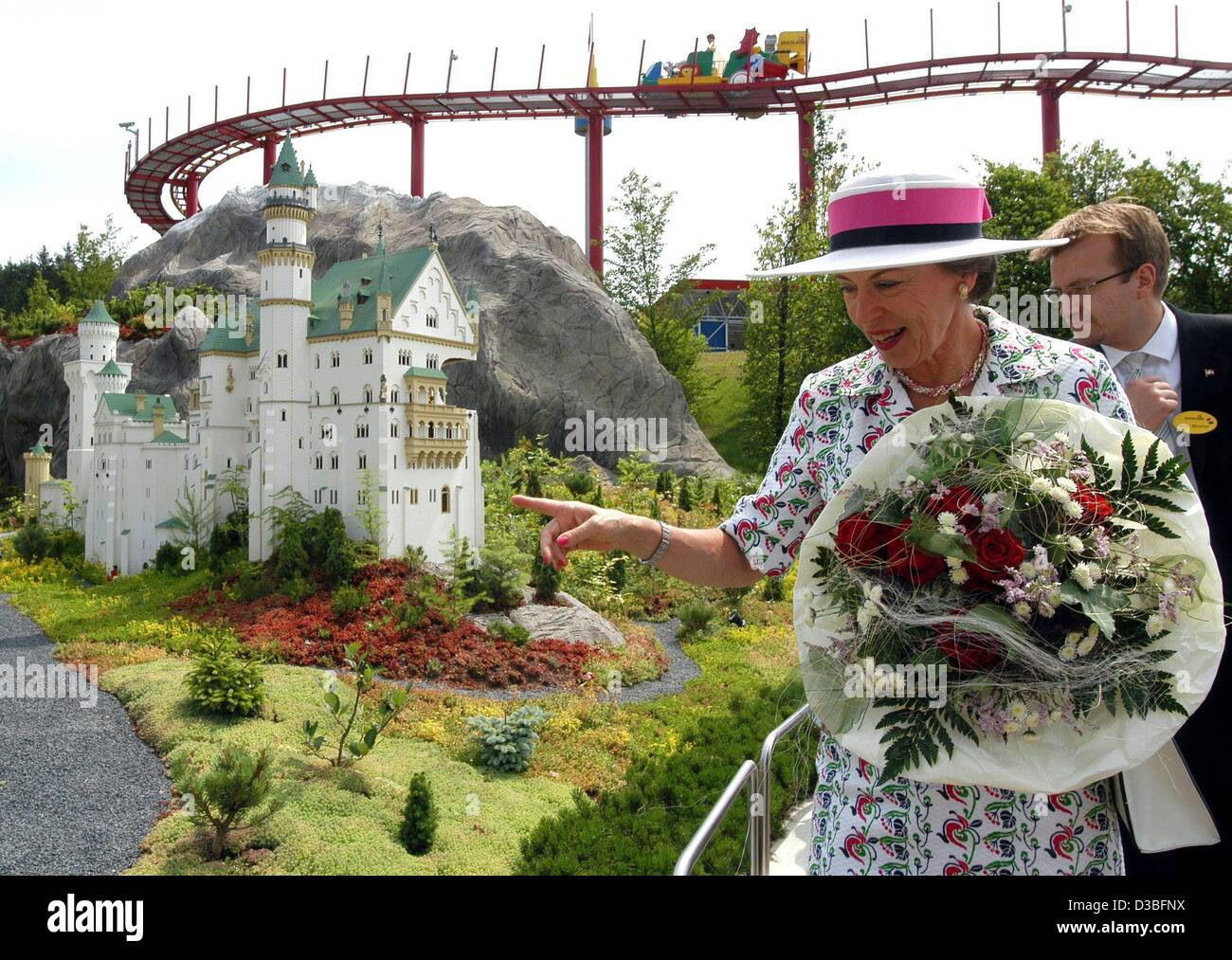 (dpa) - Danish princess Benedikte (front, R) and the managing business director of the Legoland park, Stig Blicher - Stock Image