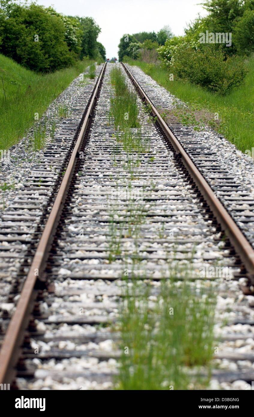 (dpa) - Grass is growing between the sleepers of a shut down railway line near Guenzburg, Germany, 21 May 2003. - Stock Image