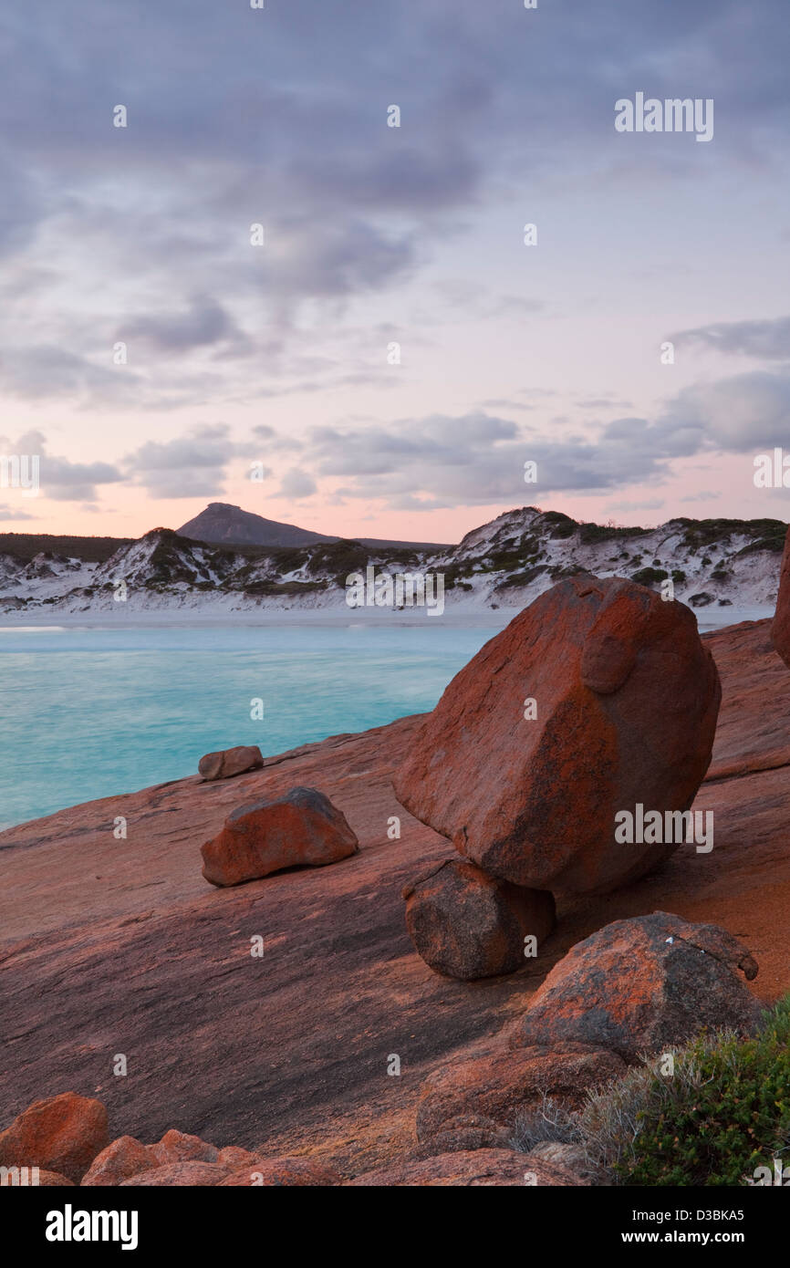 Thistle Cove at dusk. Cape Le Grand National Park, Esperance, Western Australia, Australia - Stock Image