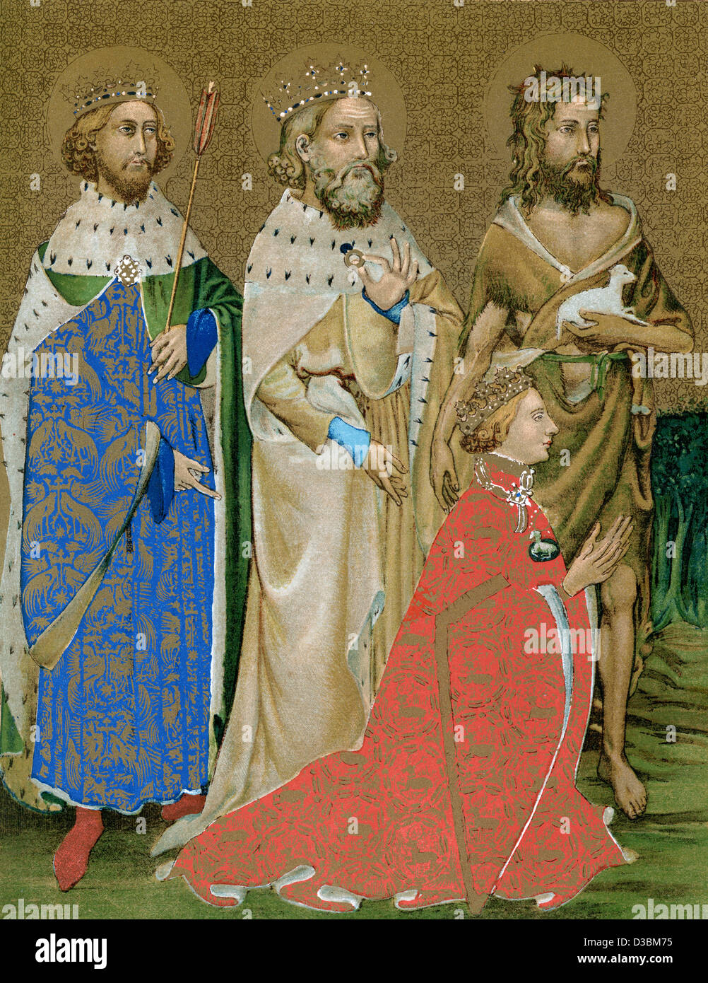 King Richard II of England and his Patron Saints, John the Baptist, Edward the Confessor and Edmund the Martyr. - Stock Image