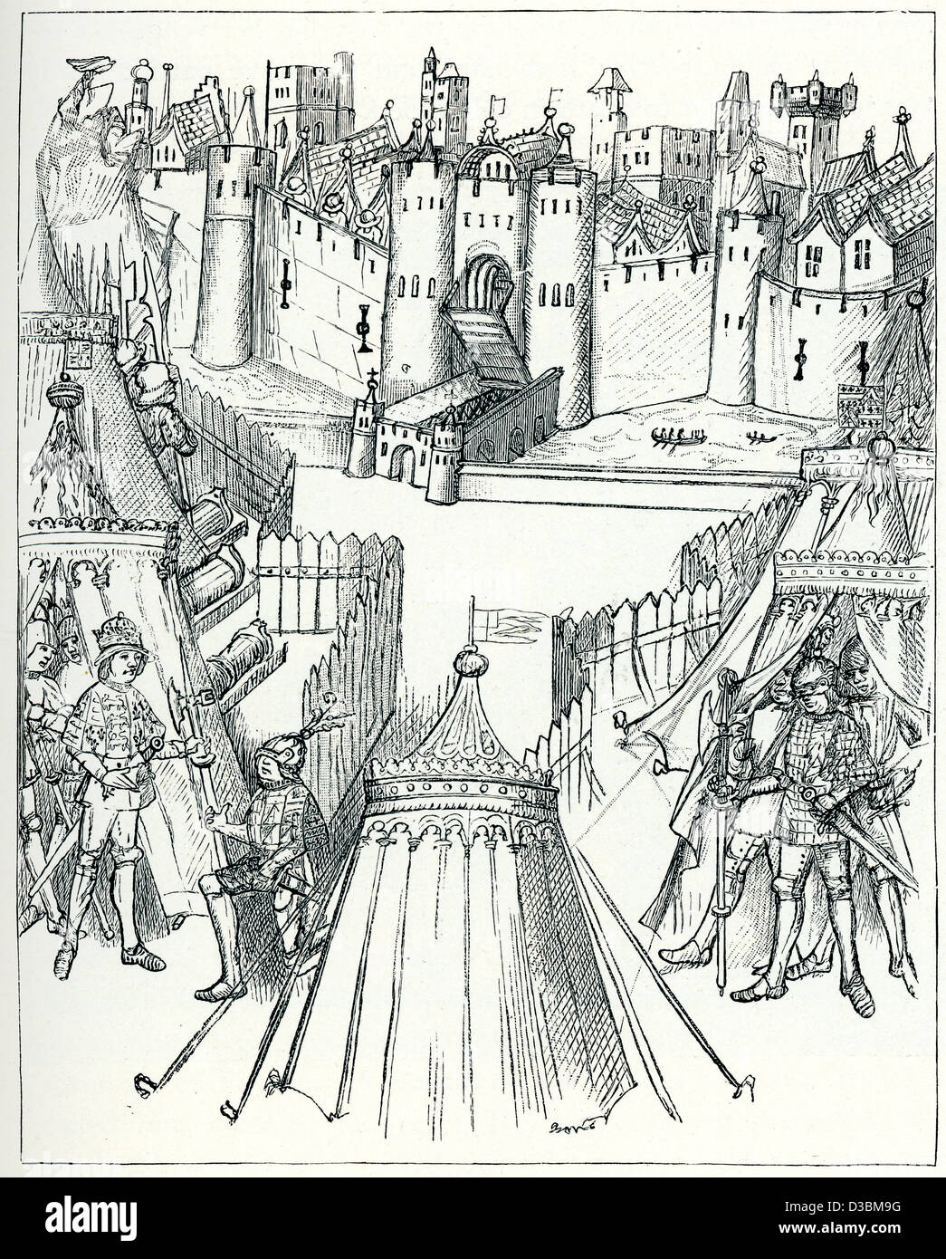 Vintage engraving from a 15th Century original of the Siege of Rouen in1418 during the Hundred Years' War. - Stock Image